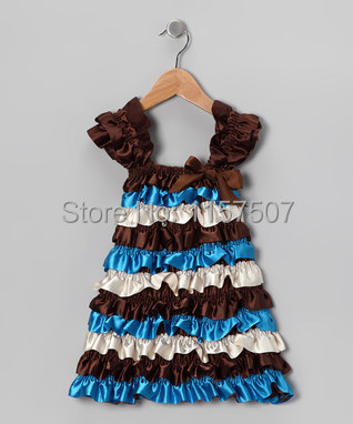 Chocolate Brown & Turquoise Satin Ruffle Dress with Cap Sleeves for Girls 1-6 Years Old ( 5 pieces / lot )(China (Mainland))
