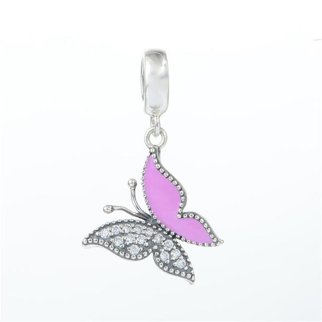 Стерлингового серебра 925 эмаль Butterlfy CZ камни мотаться бусины для женщин DIY создание приспосабливать европейские браслеты и ожерелье