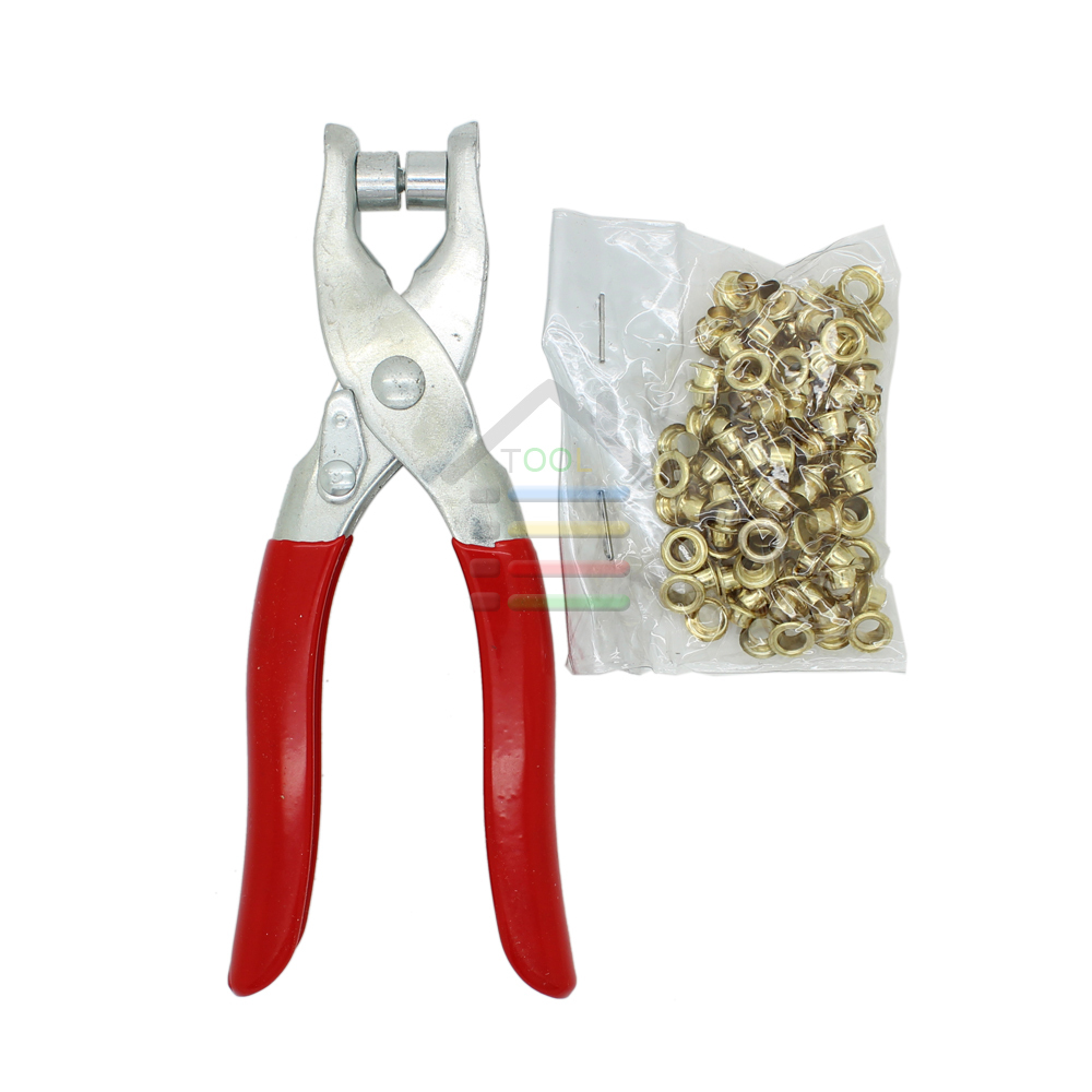 New DIY Grommet Eyelet Pliers Shoes Eyes Clamp With about 100 Eyelets For Fabric,Paper,Bags(China (Mainland))