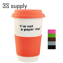 Free shipping 450ml eco-friendly  take away coffee cups with lid single-layer cup silicone sleeve coffee cup ceramic mug
