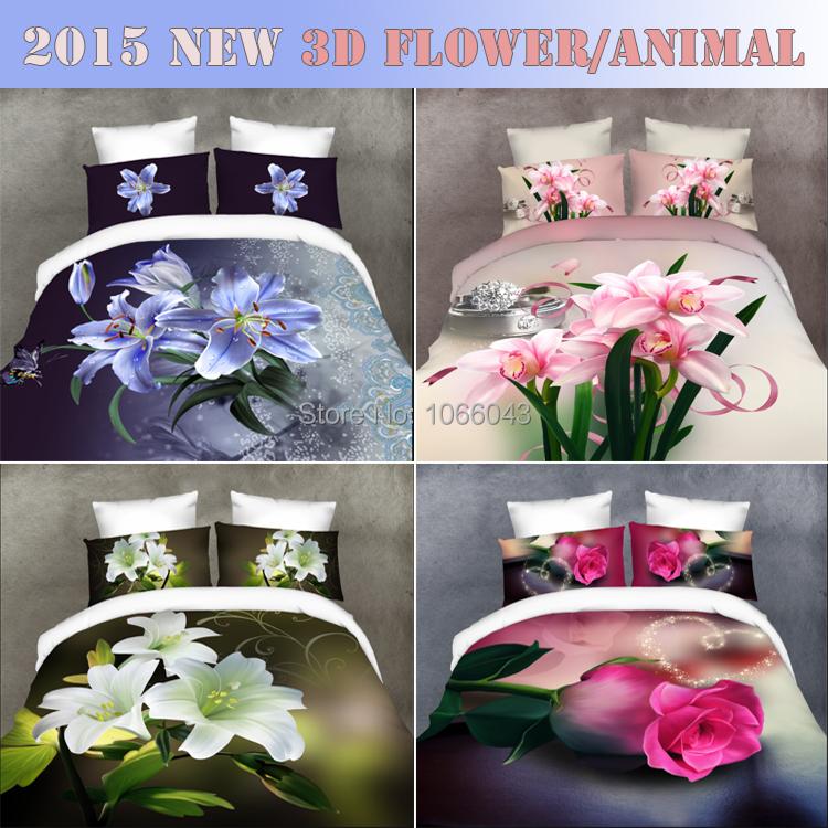 2015 3D Bedding set Animal Flower Duvet cover set 4pcs/bed linen/bed set comforter cover Duvet Cover sheet Pillowcase Queen size(China (Mainland))