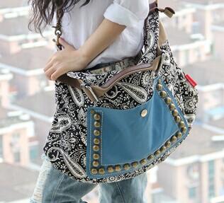 Fashion Hot Promotion women retro canvas bag female big bag handbags women rivet package diagonal package women shoulder bag(China (Mainland))