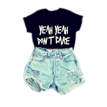 S/M/L 2015 new sexy hot black white color summer clothing cropped women girls lettter printed tops funny t shirts punk fashion