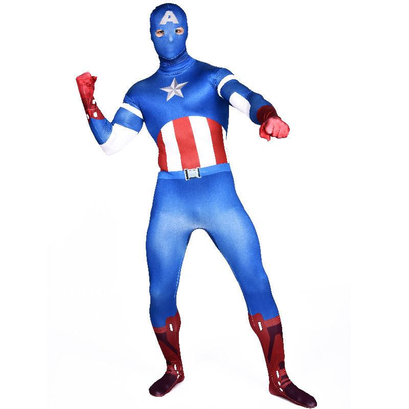 Captain America costume adult blue full bodysuit zentai superhero cosplay party halloween costumes men jumpsuits custom - Xuandong Strip store