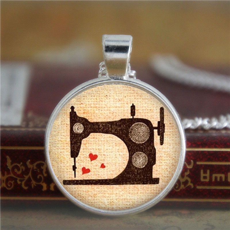 10PCS Sewing necklace Vintage Sewing Machine Jewelry Seamstress Love to Sew Art necklace Sew print glass necklace(China (Mainland))