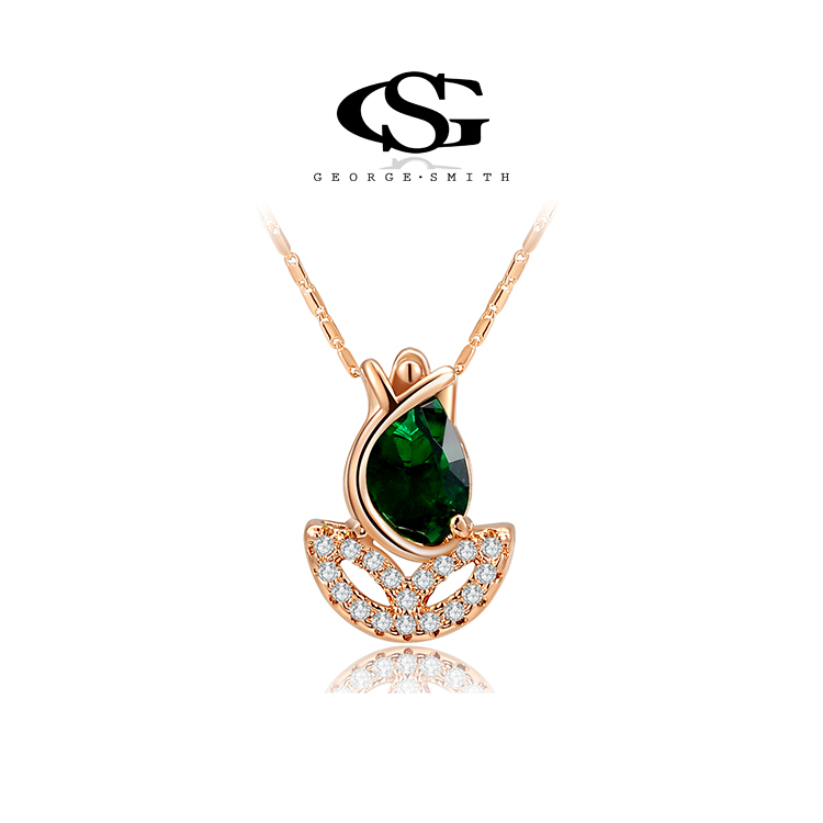 G S Brand Christmas Gift Rose Gold Plated Green Rose Flower Necklace Fashion Jewelry Necklaces For