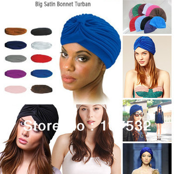 Big Satin Bonnet Turban,Muslim head cap,India's hat,ear pullover covering cap  turban hat hip-hop dance party winter hat