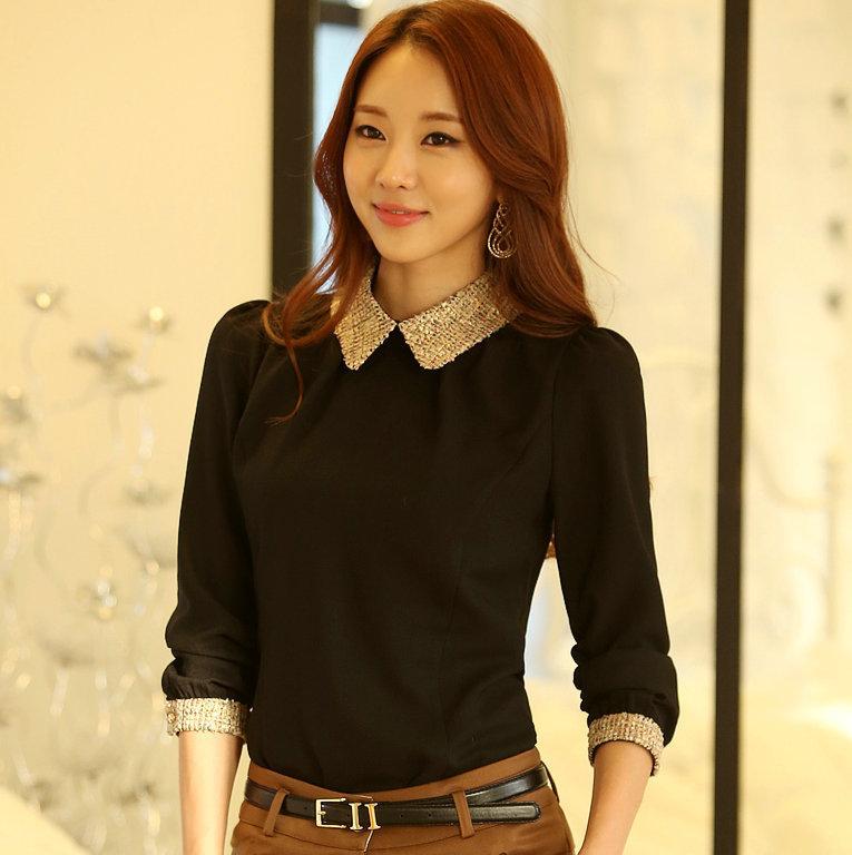 Korean Long Sleeves Blouse Fashion Korean Long Sleeve