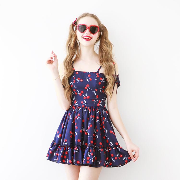 2016 new arrival summer young girls & women sweet cute slim vintage cherry chiffon one-piece dress ruffles hem slash neck print(China (Mainland))