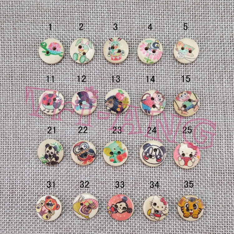 200pcs/lot, Cartoon Animal Series No.2 Multiple Paint Lovely Animal Images Wood Buttons Children Baby Clothes Buttons(China (Mainland))