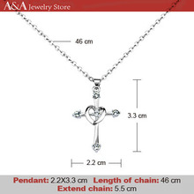 Cross Necklaces Crystal Pendants Necklaces For Women Trendy Necklaces Rhinestone Necklaces With Heart Cross Brand A&A Jewelry(China (Mainland))