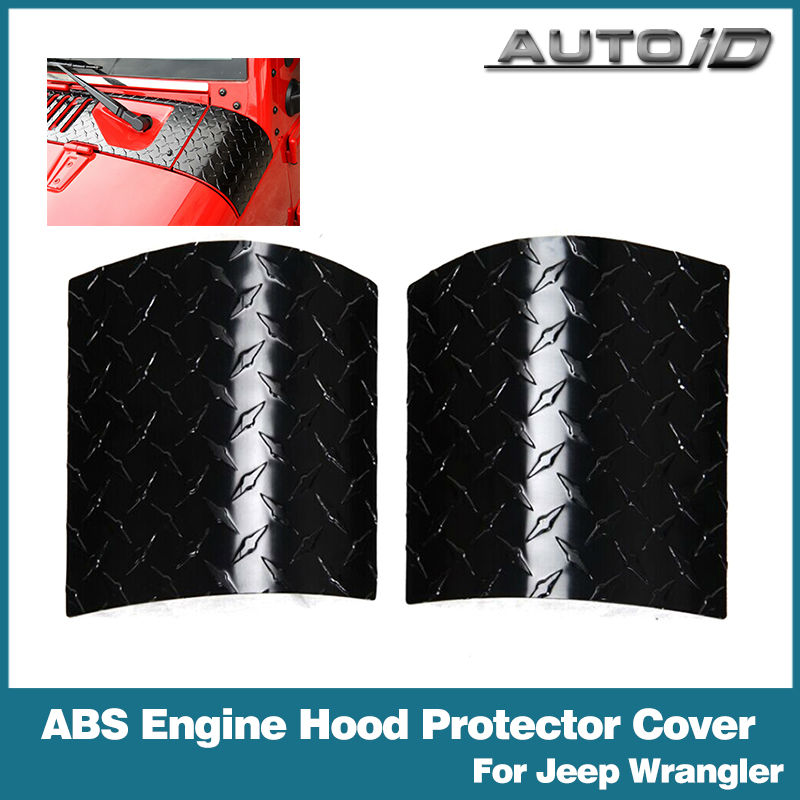2PCS ABS Black Engine Hood Body Corner Guard Armor Corner Cover For Jeep Wrangler JK 07-15