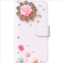 DIY Cute Crystal Diamond Flip Leather Case Cover for iPhone 4S 4G,Handmade Bling PU Mobile Phone Cases(China (Mainland))
