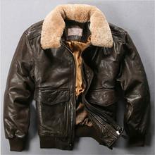 Avirex Air Force Flight Jacket Fur Collar Genuine Leather Jacket Men Dark Brown Sheepskin Coat Winter Pilot Bomber Jacket Male(China (Mainland))