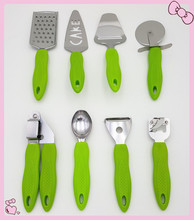 2016 New Green PP Handle S/S Head 8pcs Kitchen Cooking Tool Accessories For Pizza Turner Garlic Presser Ice Cream Scoop Hot Sale