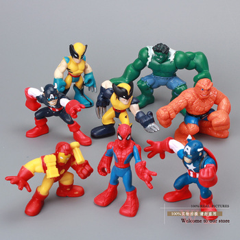 Free Shipping Marvel Q The Avengers Mini Iron Man Spider Man Captain America Hulk Action Figure Toys set of 8 HRFG040