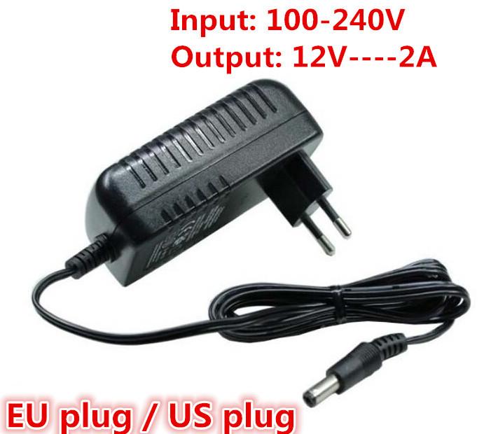 1PCS 12V2A AC 100V-240V Converter Adapter DC 12V 2A 2000mA Power Supply EU Plug for LED CCTV Free shipping(China (Mainland))