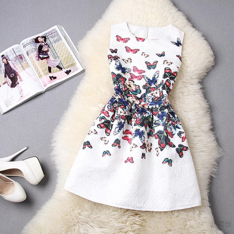 Big Girls formal dresses Teens designer Print flower Butterfly sleeveless dress easter holiday girl costume vestidos infantis(China (Mainland))