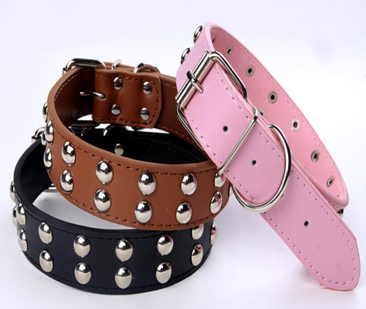 2pcs Free Shipping 3.2cm width Strong Studded PU Leather Mushroom Spikes Dog Collars Medium Puppy Collar pet supplies WNXQ016(China (Mainland))
