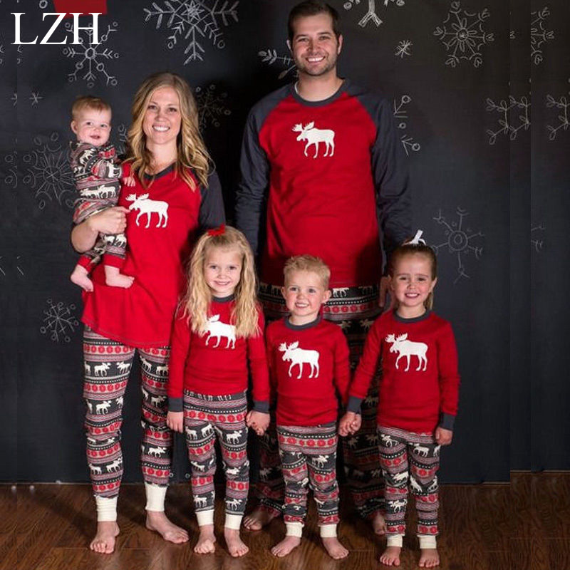 LZH Family Matching Clothes 2016 Family Christmas Pajamas Giraffe Pattern Pajamas Family Matching Outfits Family Look Clothing(China (Mainland))