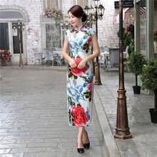 Buy High Chinese Women's Satin Print Qipao Elegant Plus Size XXXL Cheongsam Vintage Flower Sexy Dress S M L XL XXL XXXL for $48.00 in AliExpress store