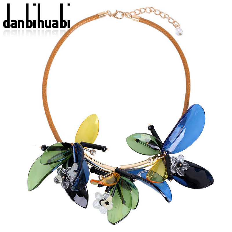 danbihuabi New Summer Colorful Women Brand Maxi Statement Necklaces & Pendants fashion Vacation Acrylic flowers Jewelry Necklace(China (Mainland))