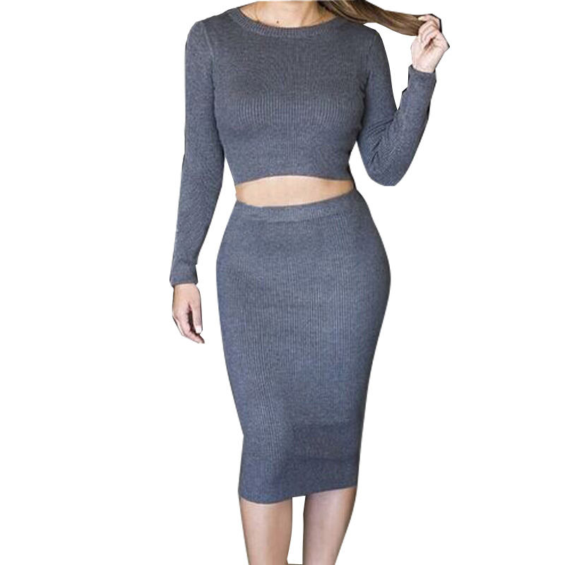 C;ub 2 Piece Knit Womens Knitted Long Sleeve Crop Top Solid Blue Bodycon Calf Pencil Dress Ladies Set Suit(China (Mainland))