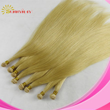 Sunnymay hand tied hair wefts grade 5a fast shipping cheap #60 blonde straight virgin brazilian human hair extensions for sale(China (Mainland))