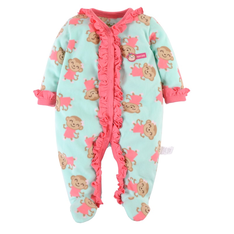 2016 Brand New Baby Girls Rompers Fleece Body Warmer Coral velvet Pink Monkey Pajamas Sleepwear Comfortable Outfit Free Shipping(China (Mainland))