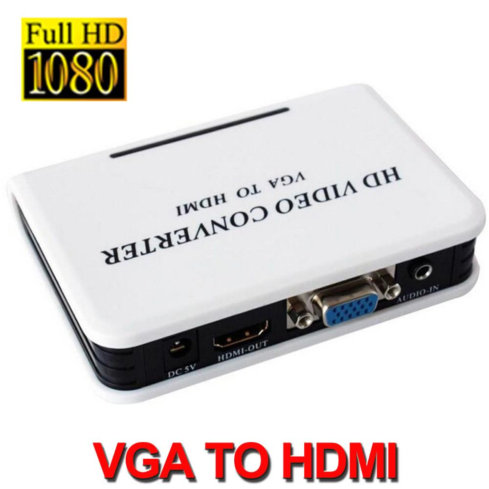 2015 New 1080p VGA Audio to HDMI HD HDTV Video Converter Box For PC laptop DVD Player(China (Mainland))