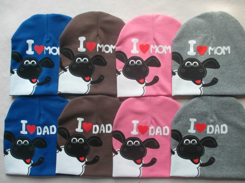 20pcs/lot 2015 new baby hat I LOVE MAMA Papa hat infant cap knitted Shaun sheep hat boy girl hats factory wholesale WH68(China (Mainland))