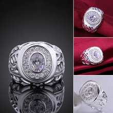 Europe style big crystal zircon stone 925 sterling silver rings fashion unisex finger ring jewelry lk0156