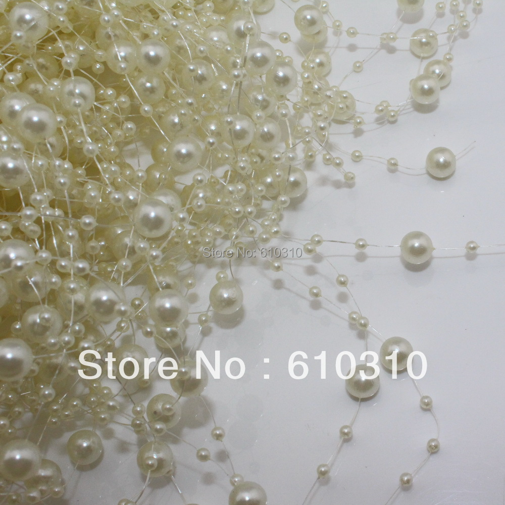 Free Shipping ivory pearl beads chain flowers wedding party holding flower decoration 30pcs(36m)/Lot
