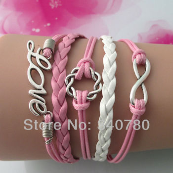 Christmas gifts Faith bracelet pink and white leather cords bracelet ,infinity twine circle love fashion handmade bracelet FB108