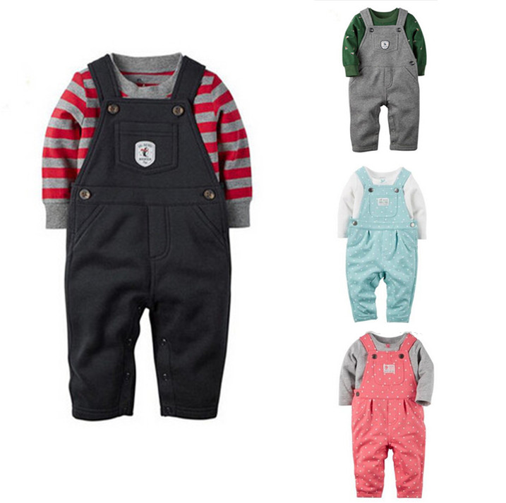 2016 bebes Original baby boys girls clothing set Autumn spring summer infant cotton t shirt+ Polka dots overalls 2pcs