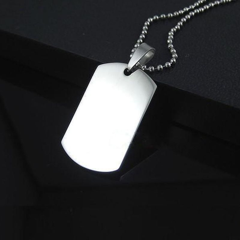 Titanium Army ID Dog Tag Pendant Necklace Military Chain Stainless Steel Silver(China (Mainland))