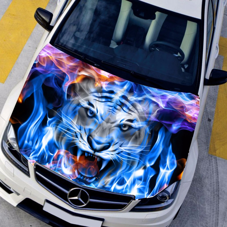 DIY Car styling HD inkjet Blue Flame Angry Tigers Hood stickers car Waterproof film Animal stickers 135*150cm Change color film