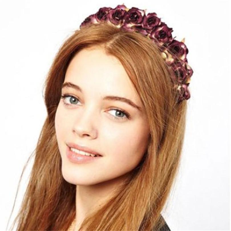 Durable 2015 hot Fashion fabric flower hair bands wedding hair accessories Headwear for women 6color Random Color(China (Mainland))