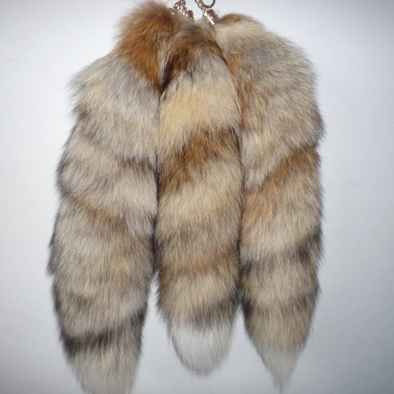 Hot Sale 40cm large Real Fox Fur Tail Keychain Tassel Bag Hanging Tag Charm Handbag Pendant Accessory fur pom poms(China (Mainland))