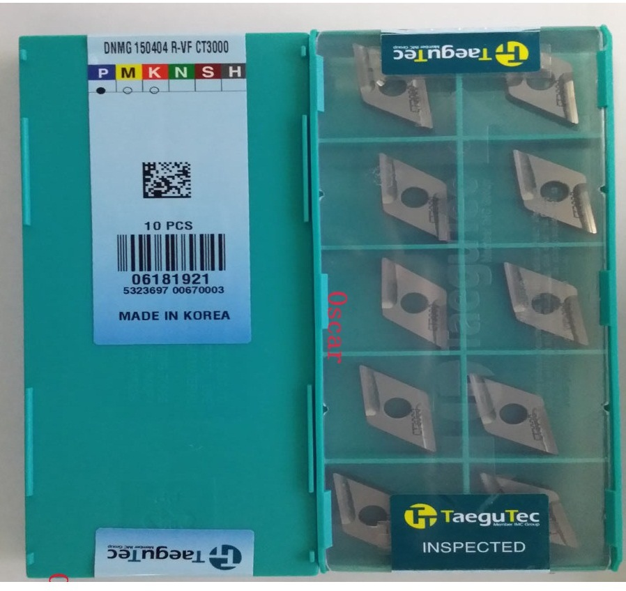 DNMG150404R-VF CT3000 inserts Taegutec DNMG 150404 R-VF CT3000 Cermet for steel cast iron or stainless steel(China (Mainland))
