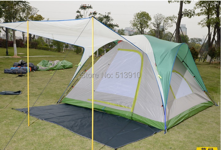2015Spring 5-8persons double layer aluminum handle anti-rain camping family tent include top curtain/front mat/1set struct<br><br>Aliexpress