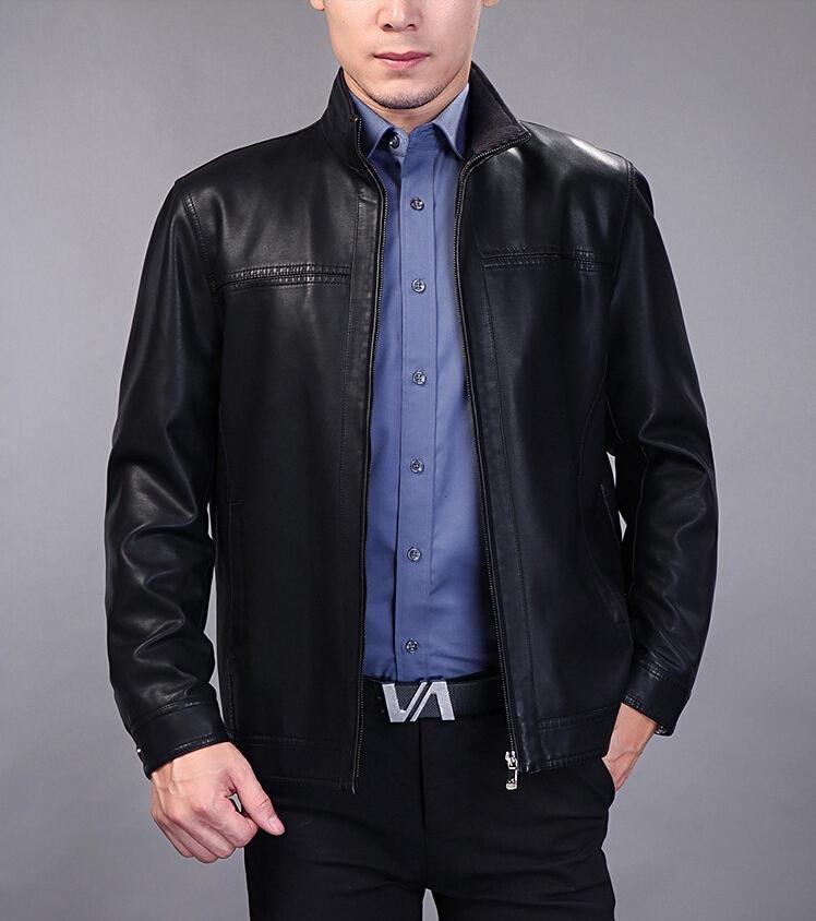 New 2014 Spring Autumn Jaquetas De Couro Fashion Middle-aged Casual Leather Jacket Men Color Black /Coffee Size M L XL 2XL 3XLОдежда и ак�е��уары<br><br><br>Aliexpress