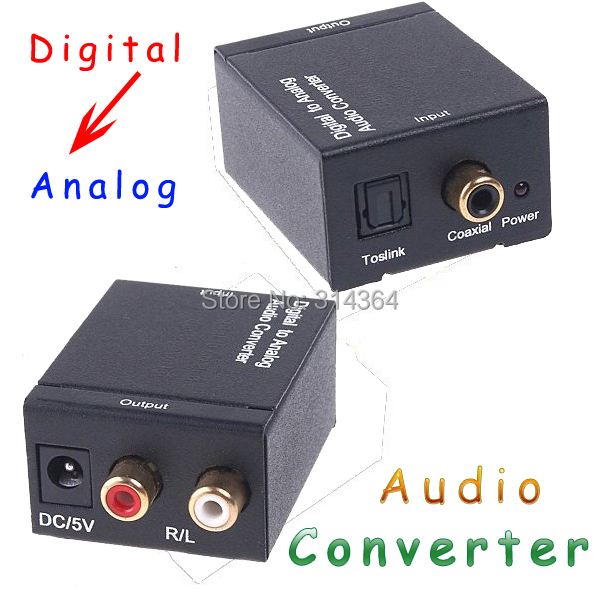 10pcs/lot Converters Audio converter Digital Optical Coax Toslink to Analog Audio Converter adapters free Express shipping(China (Mainland))