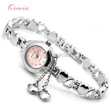 Famous Brand Women Luxury Watches KIMIO Small Quartz-watch Heart Love Band Fashion Ladies Bracelet Watches Women Wristwatches(China (Mainland))