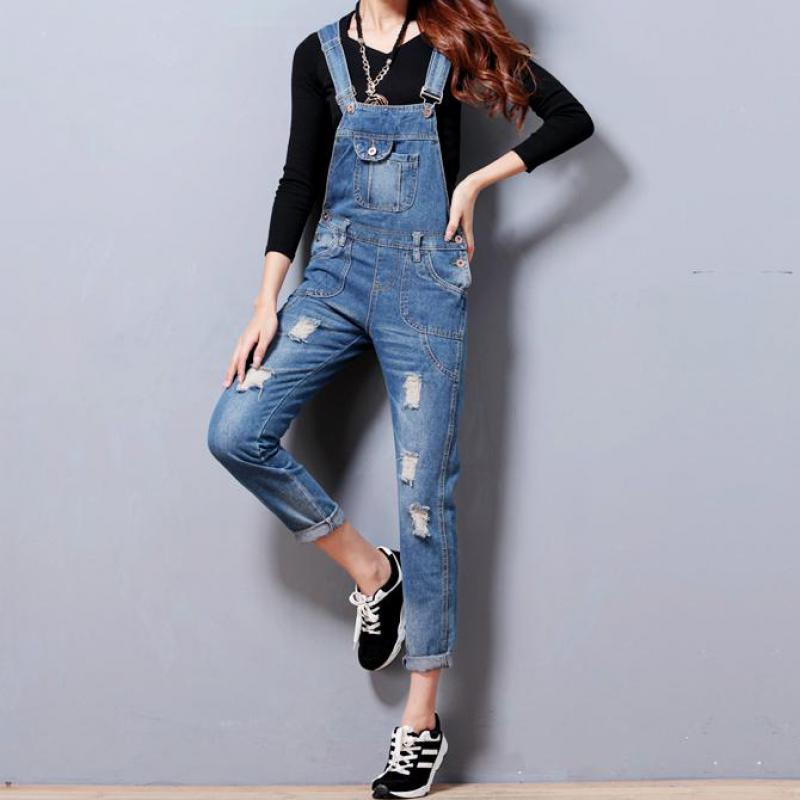 2015 New Fashion Women Overalls Jumpsuits Fashion Lady Sexy Denim Jumpsuits Plus Size Loose Female Rompers Trousers Ripped Hole(China (Mainland))