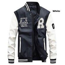 Mannen Pu Faux Leather Jacket 2019 Merk Borduurwerk Baseball Jassen Mannelijke Ongedwongen Luxe Winter Warm Fleece Pilot Bomber Jas Nieuwe(China)