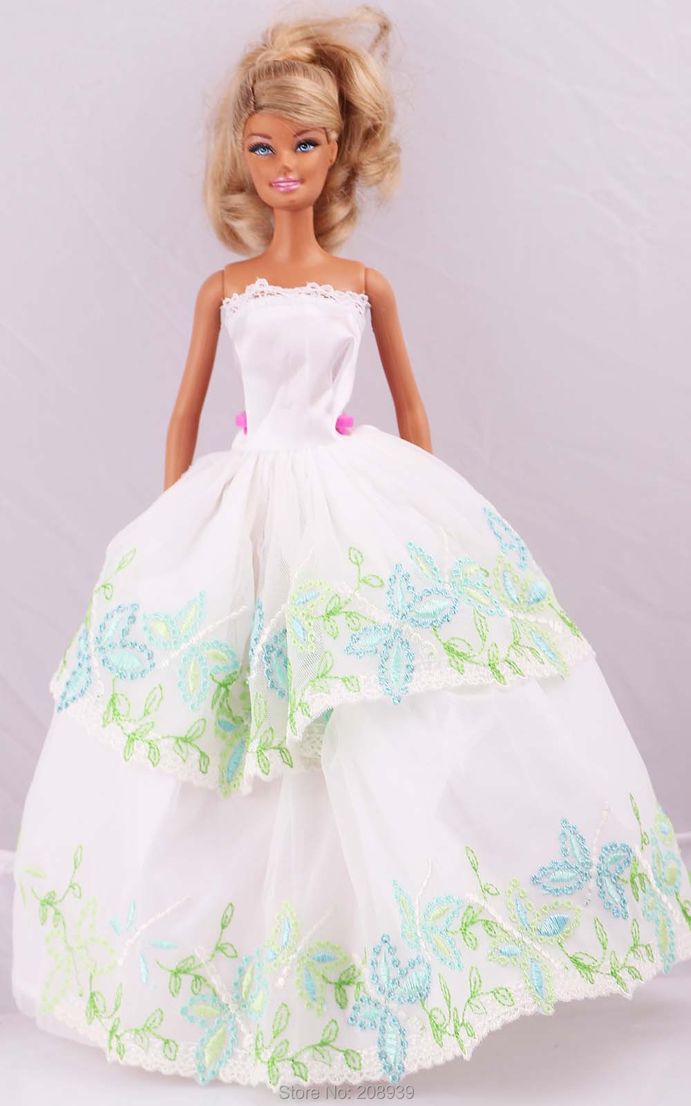 "Fashion Handmade White Dress/Party Dress Clothes Gown For 11"" Barbie Doll D993(China (Mainland))"