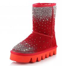 2015 Nueva Llegada de La Venta Caliente Mujeres Sólido remache Resbalón-En muy cálido Nieve de las mujeres Botas Planas de cuero genuino Zapatos de Invierno de Gran tamaño 34-43(China (Mainland))