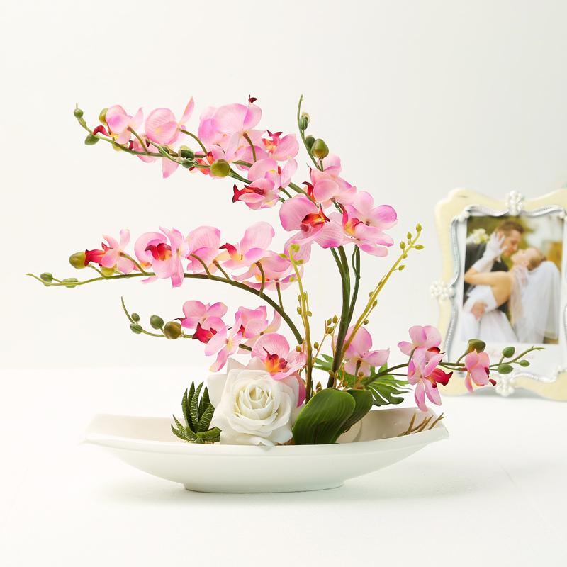 rose artificielle orchidée en pot de fleurs haut de gamme de mariage ...
