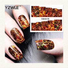 YZWLE 1 Sheet DIY Decals Nails Art Water Transfer Printing Stickers Accessories For Manicure Salon YZW-8176